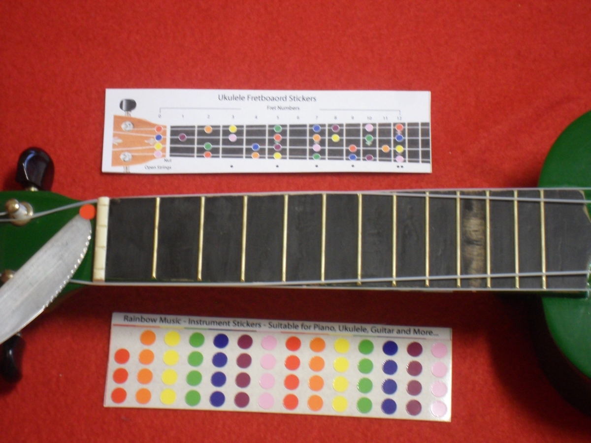 Ukulele Stickers Colored Note Stickers For The Fretboard